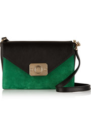 Delphie Duo reversible suede and leather shoulder bag
