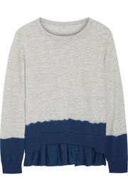 Ruffled dip-dyed washed silk-blend and cotton-terry sweatshirt