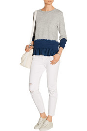 CLU Ruffled dip-dyed washed silk-blend and cotton-terry sweatshirt