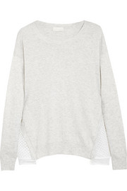 Embroidered organza-paneled cotton-blend sweater