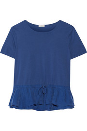 Ruffled washed-silk and jersey top