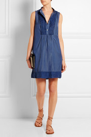 Pintucked silk and cotton-blend twill mini dress