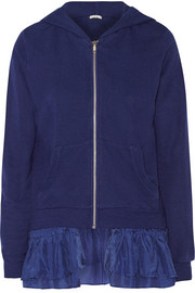 Ruffled washed-silk and French terry sweatshirt