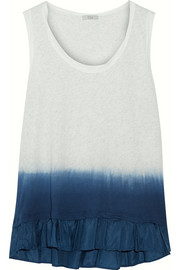 CLU Ruffled dip-dyed washed-silk and cotton-jersey top