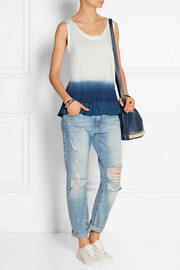 Ruffled dip-dyed washed-silk and cotton-jersey top