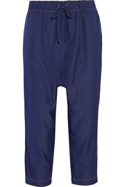 CLU Cropped silk and cotton-blend tapered pants