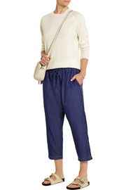 Cropped silk and cotton-blend tapered pants