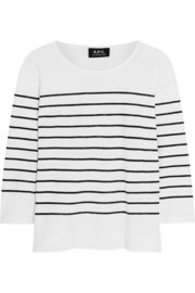 Mariniere striped cotton and linen-blend top