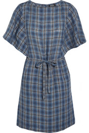 Kentucky plaid linen mini dress