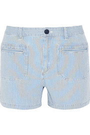 Roma striped denim shorts