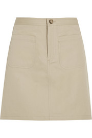 Donna cotton and linen-blend mini skirt