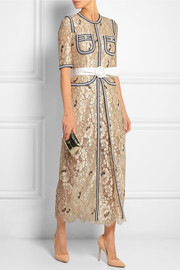 Passementerie-trimmed floral-lace gown