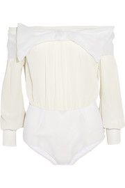 Bow-embellished silk-chiffon and tulle bodysuit