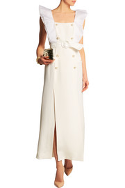 Alessandra Rich Belted organza-trimmed silk-cady gown