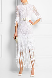 Fringed lace gown