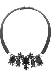 Leather, gunmetal-tone, crystal and faux pearl necklace