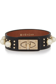 Givenchy Shark Lock bracelet in black leather, faux pearls and studs