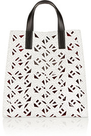 Printed laser-cut textured-leather tote