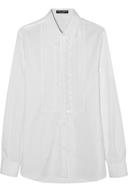 Lace-trimmed cotton-poplin shirt