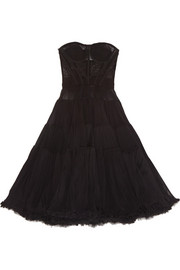 Tiered stretch silk-blend tulle dress