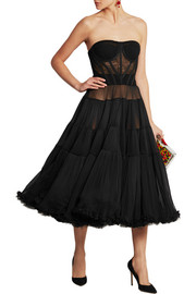 Dolce & Gabbana Tiered stretch silk-blend tulle dress