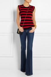 Striped ribbed-knit silk top