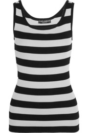 Striped silk-jersey tank