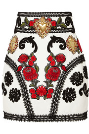 Embellished embroidered leather mini skirt