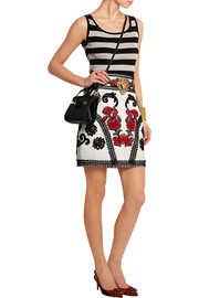 Dolce & Gabbana Embellished embroidered leather mini skirt
