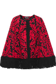 Fringed embroidered crepe cape