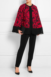 Dolce & Gabbana Fringed embroidered crepe cape