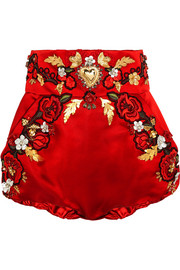 Embellished silk-blend satin shorts