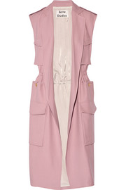 Sleeveless twill trench coat