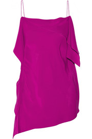 Busca draped silk crepe de chine top