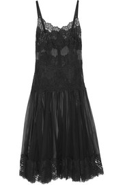 Dolce & Gabbana Lace and silk-blend chiffon midi dress