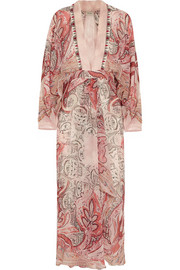 Beaded printed silk-crepe dress