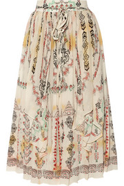 Printed crinkled silk-chiffon midi skirt