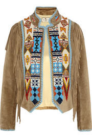 Fringed beaded suede jacket
