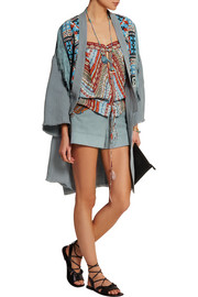 Beaded fringed suede and linen jacket