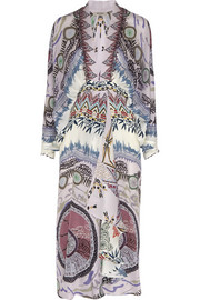 Printed embellished silk-crepe midi dress
