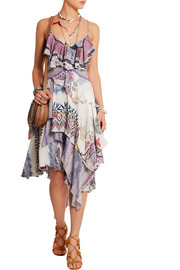 Layered printed silk dress