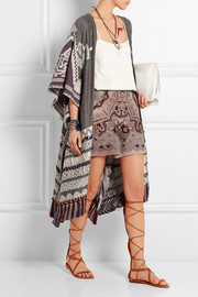 Fringed jacquard coat