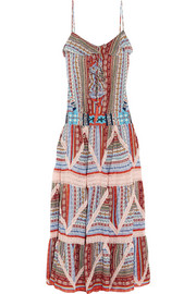 Beaded printed silk-crepe maxi dress