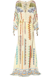 Lace-trimmed printed crepe de chine maxi dress