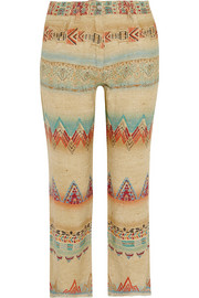 Printed silk-blend canvas straight-leg pants