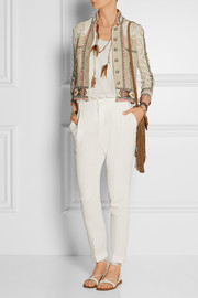 Crochet-paneled embellished silk-blend canvas jacket