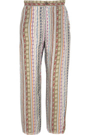 Frayed printed twill tapered pants