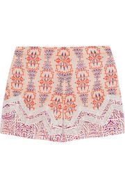 Lace-paneled printed silk-crepe shorts