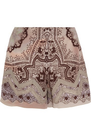Lace-trimmed printed silk-crepe shorts
