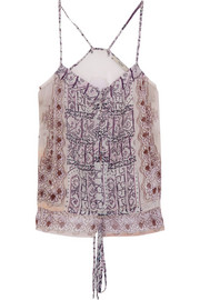 Printed silk-georgette top